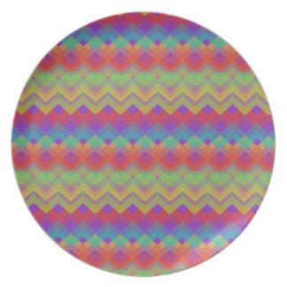 Chevron Rainbow Pattern Melamine Plate
