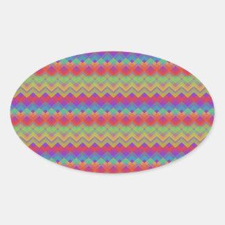 Chevron Rainbow Pattern Oval Sticker