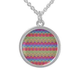 Chevron Rainbow Pattern Round Pendant Necklace