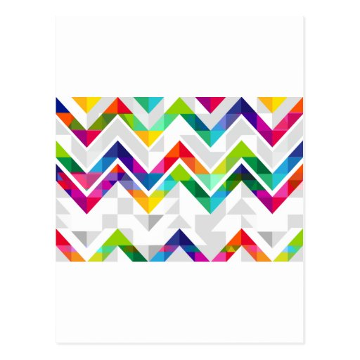 chevron rainbow postcard