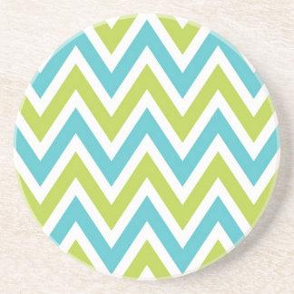 Chevron raya azul y verde coloridos posavasos diseño