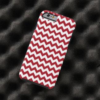 Chevron rayado rojo y blanco del arándano funda para iPhone 6 tough