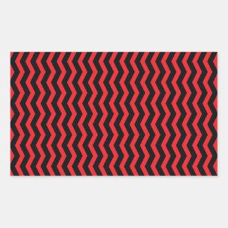 Chevron Red and Black pattern Rectangular Sticker