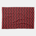 Chevron Red and Black pattern Towel
