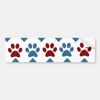 Chevron Red Blue Puppy Paw Prints Dog Lover Gifts Bumper Sticker