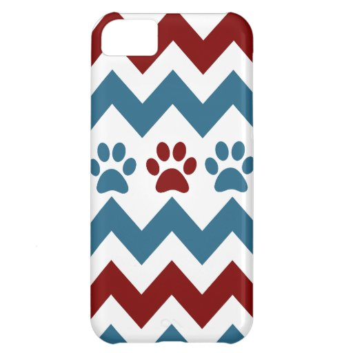 Chevron Red Blue Puppy Paw Prints Dog Lover Gifts iPhone 5C Cover
