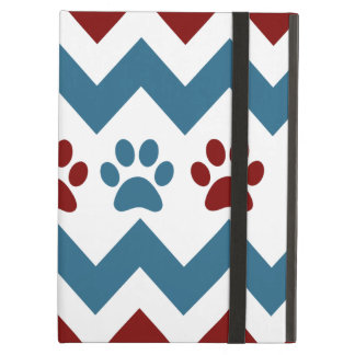 Chevron Red Blue Puppy Paw Prints Dog Lover Gifts Case For iPad Air