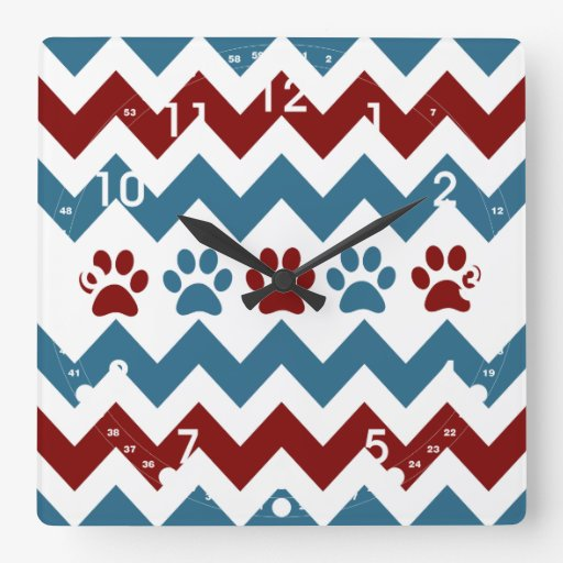 Chevron Red Blue Puppy Paw Prints Dog Lover Gifts Square Wallclock