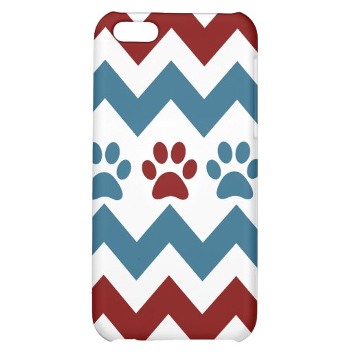 Chevron Red Blue Puppy Paw Prints Dog Lover Gifts iPhone 5C Covers