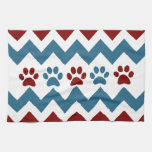Chevron Red Blue Puppy Paw Prints Dog Lover Gifts Towels