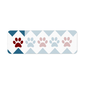 Chevron Red Blue Puppy Paw Prints Dog Lover Gifts Label
