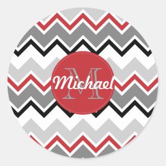 Chevron Red Grey Black Monogrammed Circle Stitches Classic Round Sticker