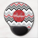 "Chevron Red Grey Black Monogrammed Circle Stitches Gel Mouse Pad<br><div class=""desc"">This chevron design in tones of red,  grey and black has a red circle with white stitch pattern. Customize with your name and initial.  A contemporary design that will brighten up any person&#39;s day.</div>"