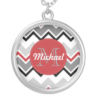 Chevron Red Grey Black Monogrammed Circle Stitches Personalized Necklace