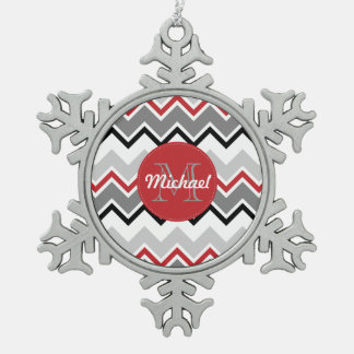 Chevron Red Grey Black Monogrammed Circle Stitches Snowflake Pewter Christmas Ornament