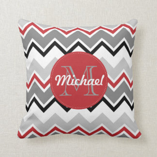Chevron Red Grey Black Monogrammed Circle Stitches Pillow