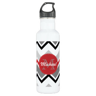 Chevron Red Grey Black Monogrammed Circle Stitches Stainless Steel Water Bottle