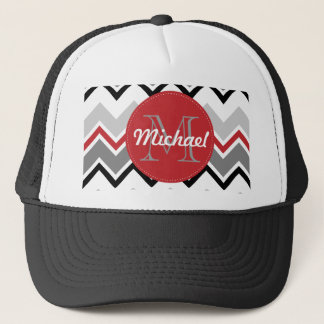 Chevron Red Grey Black Monogrammed Circle Stitches Trucker Hat