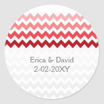 chevron red Ombre wedding favor stickers