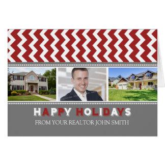 Chevron Red Realtor Happy Holidays Photo Card