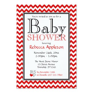 Chevron Red & White Baby Shower Invitations
