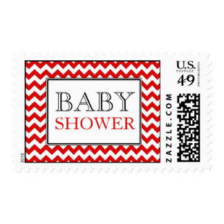 Chevron Red & White Baby Shower Postage Stamps