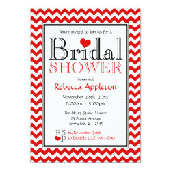 Chevron Red & White Bridal Shower Invitations