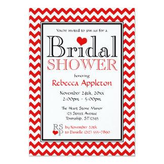 Chevron Red & White Bridal Shower Invitations