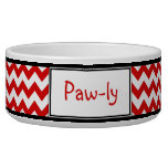 Chevron Red & White Personalized Dog Bowl