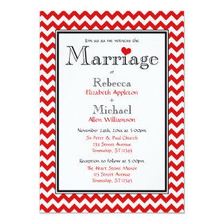 Chevron Red & White Wedding Invitations