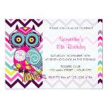 Chevron Retro Groovy Owl Birthday Party 5x7 Paper Invitation Card