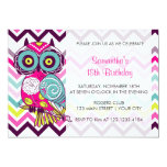 Chevron Retro Groovy Owl Birthday Party Custom Invitation
