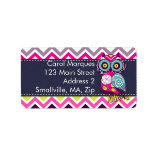 Chevron Retro Groovy Owl Label