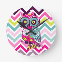 Chevron Retro Groovy Owl Round Clock