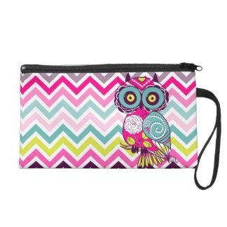 Chevron Retro Groovy Owl Wristlet