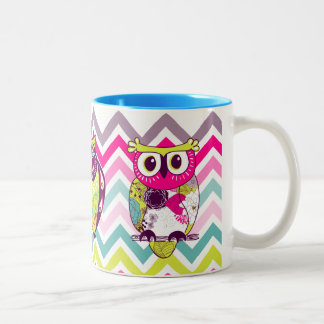 Chevron Retro Groovy Owls Mug