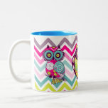 Chevron Retro Groovy Owls Two-Tone Coffee Mug