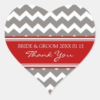 Chevron rojo gris le agradece las etiquetas del colcomanias de corazon personalizadas