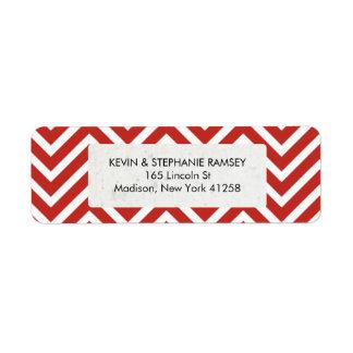Chevron rojo y blanco etiqueta de remite