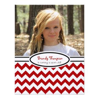 Chevron rojo y blanco Imagen Invitación del fies