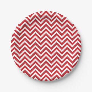 Chevron rojo y blanco plato de papel de 7 pulgadas