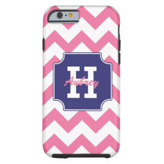 Chevron rosado azul personalizado monograma funda de iPhone 6 tough