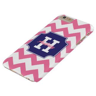 Chevron rosado azul personalizado monograma funda de iPhone 6 plus barely there