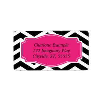 Chevron rosado blanco negro personal etiqueta de dirección