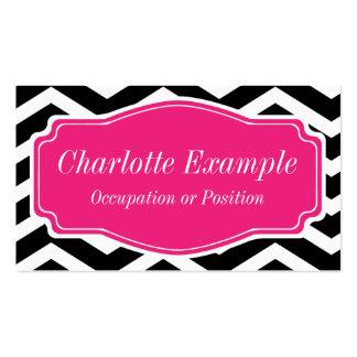 Chevron rosado blanco negro personal plantilla de tarjeta personal