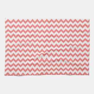 Chevron rosado coralino toallas de cocina
