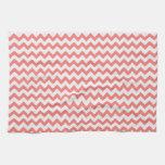 Chevron rosado coralino toallas