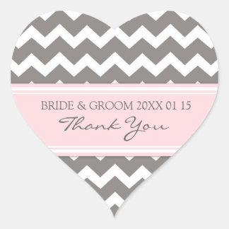 Chevron rosado gris le agradece las etiquetas del calcomania de corazon