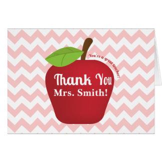 Chevron rosado, manzana del aprecio del profesor tarjeta de felicitación