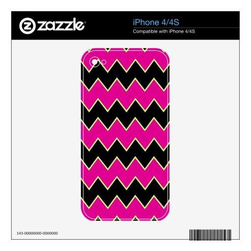 Chevron rosado negro iPhone 4S calcomanía